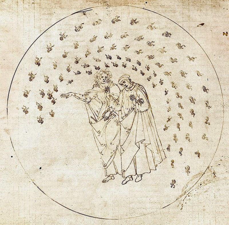 """Dante Botticelli Paradiso Beatrice imparadisare neologismi """"divina commedia"""" prefissi suffissi"""