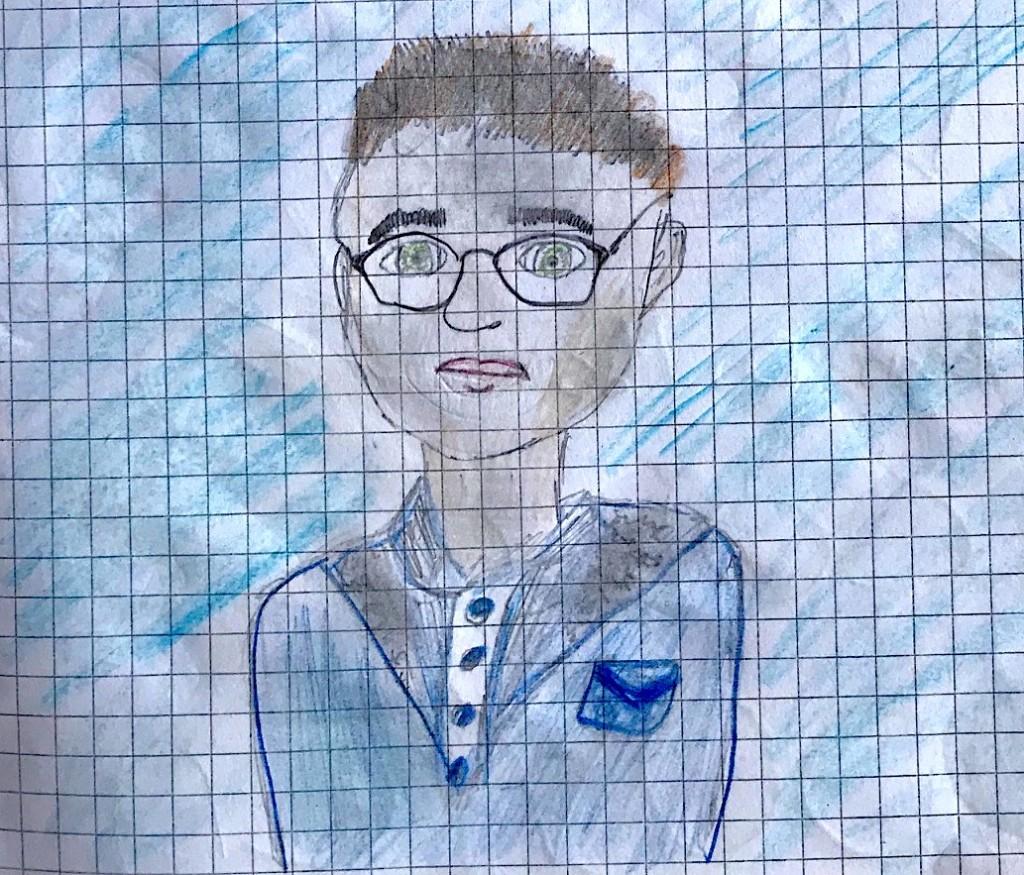 """ritratto """"Massimo Birattari"""" disegno scuola primaria"""