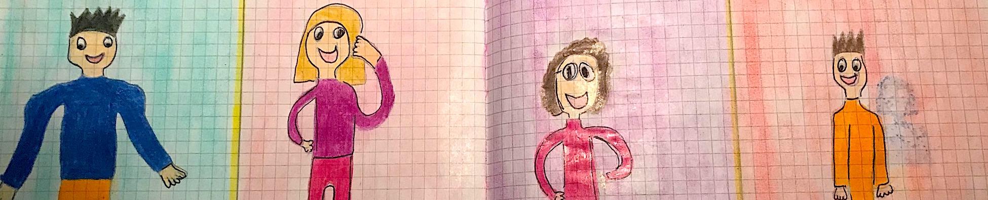 """scuola primaria disegno """"leggere è un'avventura"""" personaggi"""
