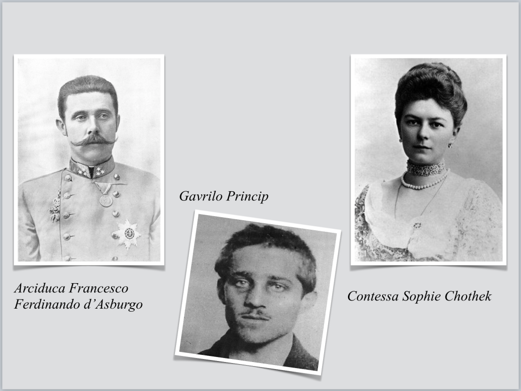 "Sarajevo ""prima guerra mondiale"" ""arciduca Francesco Ferdinando d'Asburgo"" ""contessa Sophie Chothek"" ""Gavrilo Princip"" attentato Bosnia"